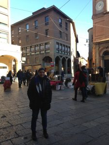 Alessandra Testa (Bologna, Italy, Spring 2016) -Testa on famous streetway in Bologna