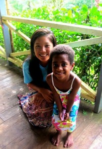 Lea Chin '14 (left) with a little girl, Sera, from Sote Village in Fiji.